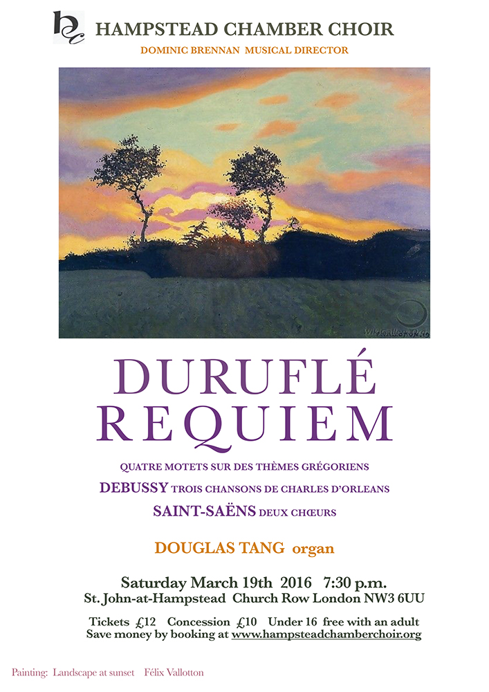Hampstead Chamber Choir - Durufle Requiem poster